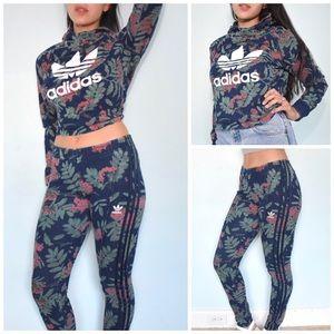 Adidas Floral Crop Hoodie & Track Pant Set